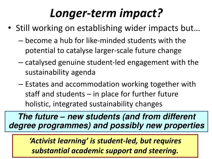 Longer-term impact?