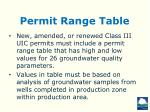permit range table