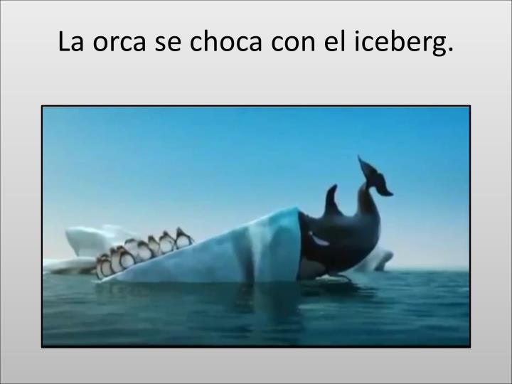 La orca se choca con el iceberg.