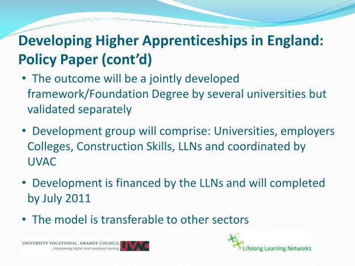 Developing Higher Apprenticeships in England: