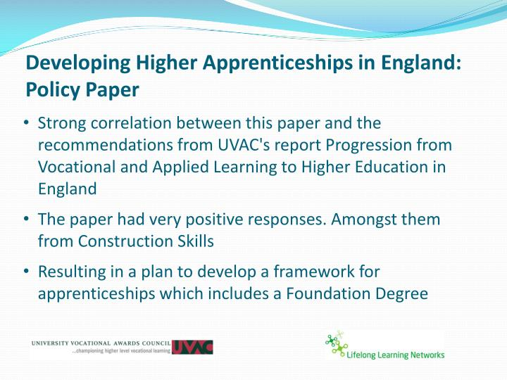 Developing higher apprenticeships in england policy paper