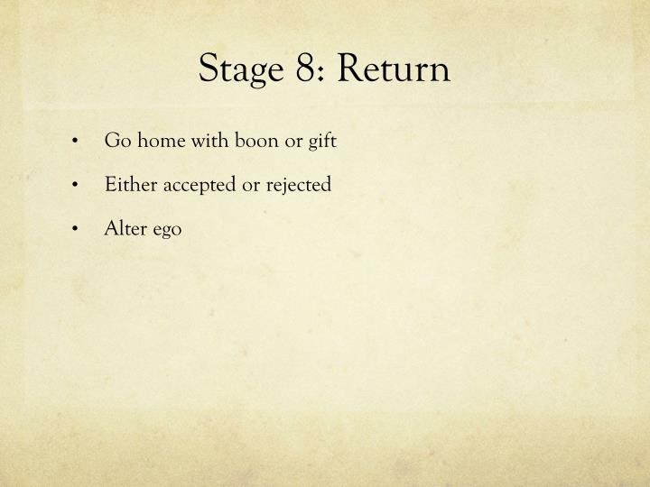 Stage 8: Return