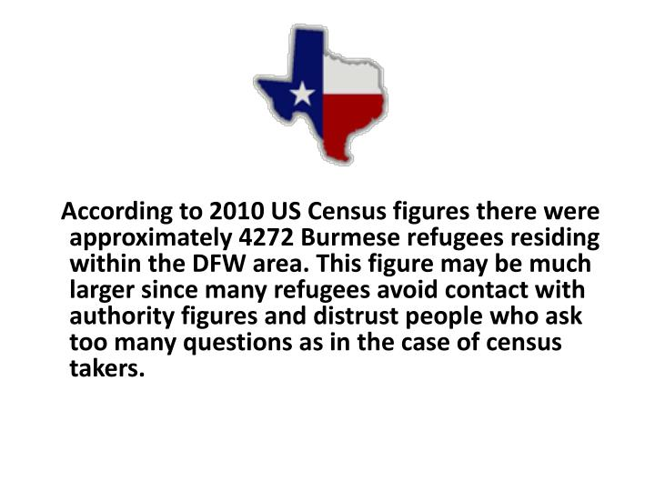 According to 2010 US Census figures there were approximately 4272 Burmese refugees residing within the DFW area. This figure may be much larger since many refugees avoid contact with authority figures and distrust people who ask too many questions as in the case of census takers.