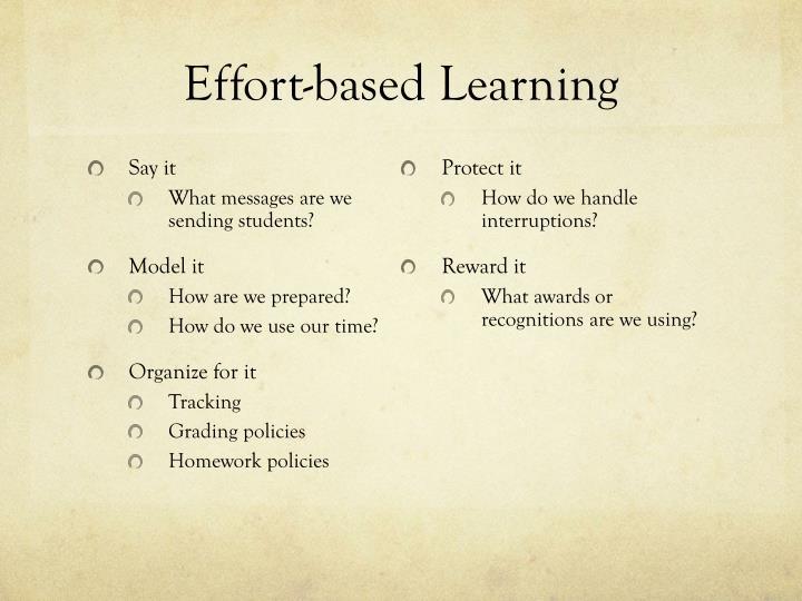 Effort-based Learning