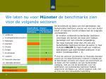 we laten nu voor m nster de benchmarks zien voor de volgende sectoren