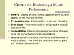 criteria for evaluating a music performance