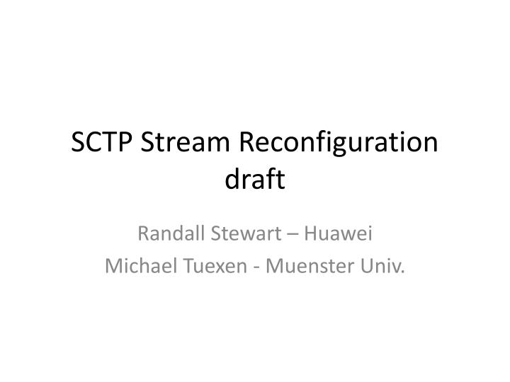 sctp stream reconfiguration draft n.