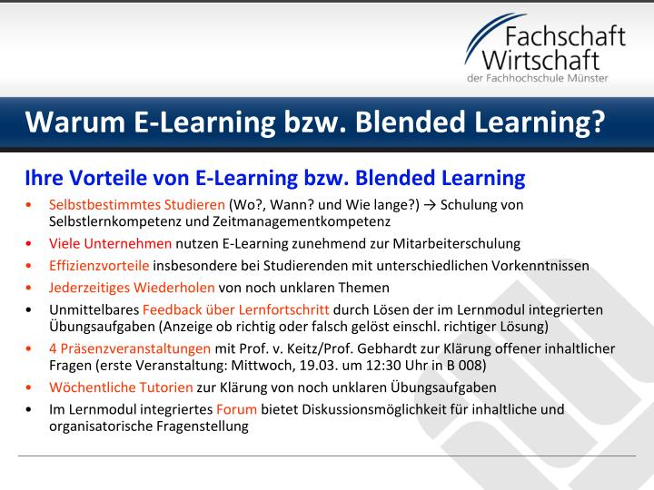 Warum E-Learning bzw. Blended Learning?