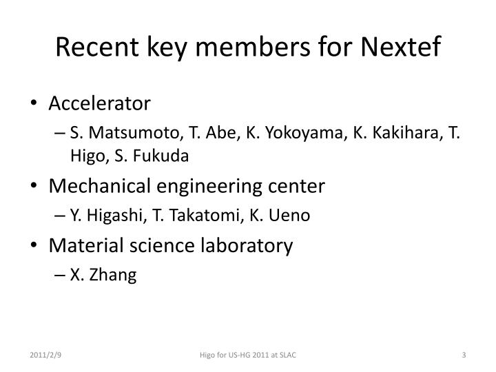 Recent k ey members for nextef