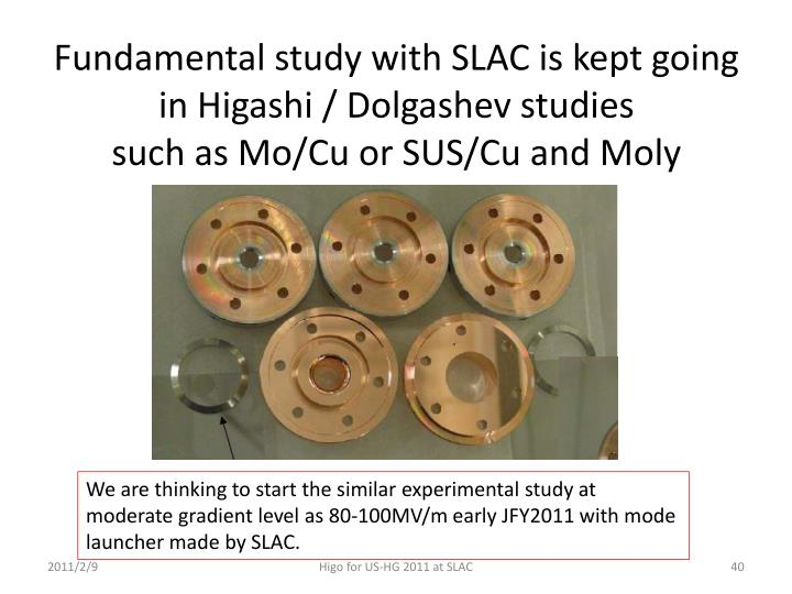 Fundamental study with SLAC is kept going