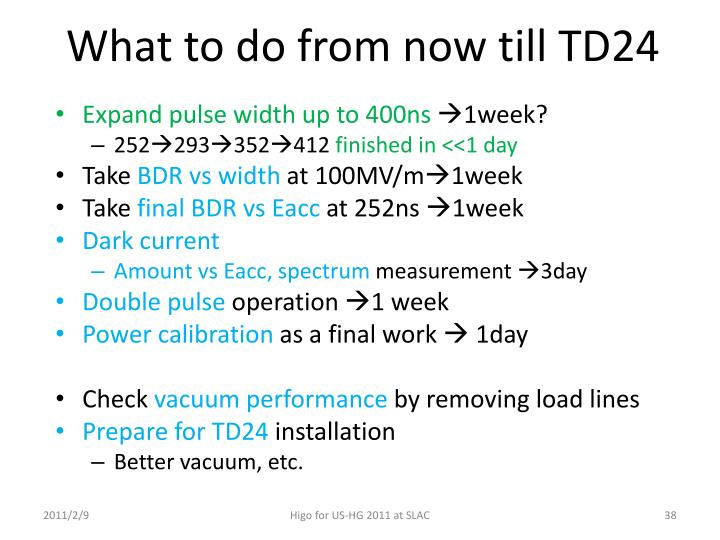 What to do from now till TD24