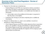 overview of the joint final regulation review of resolution plans