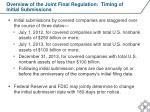overview of the joint final regulation timing of initial submissions