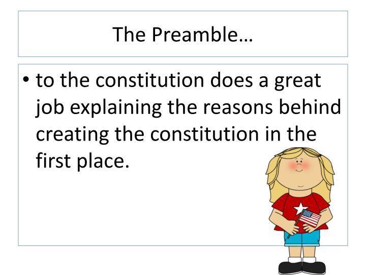 The Preamble…