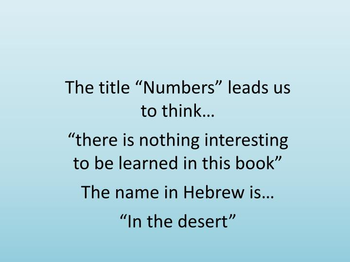 """The title """"Numbers"""" leads us to think…"""