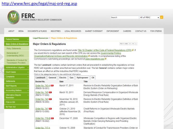 Http://www.ferc.gov/legal/maj-ord-reg.asp