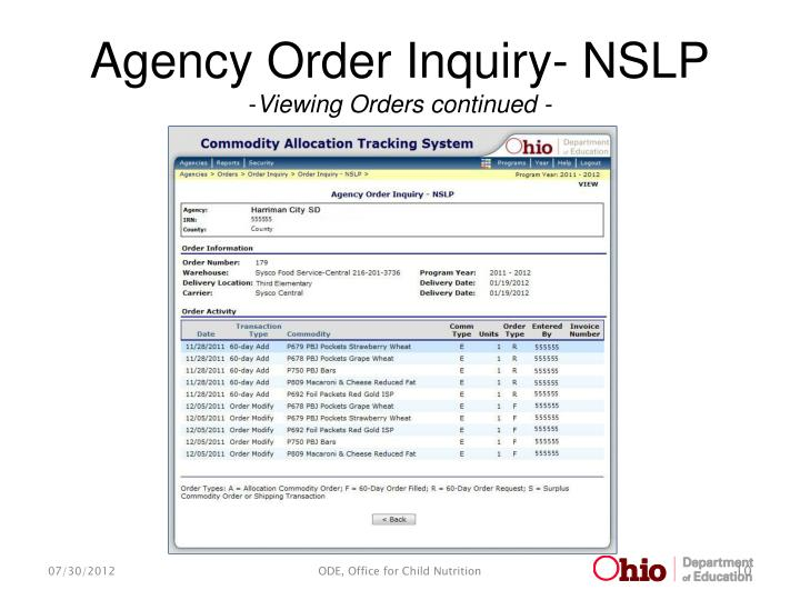 Agency Order Inquiry- NSLP