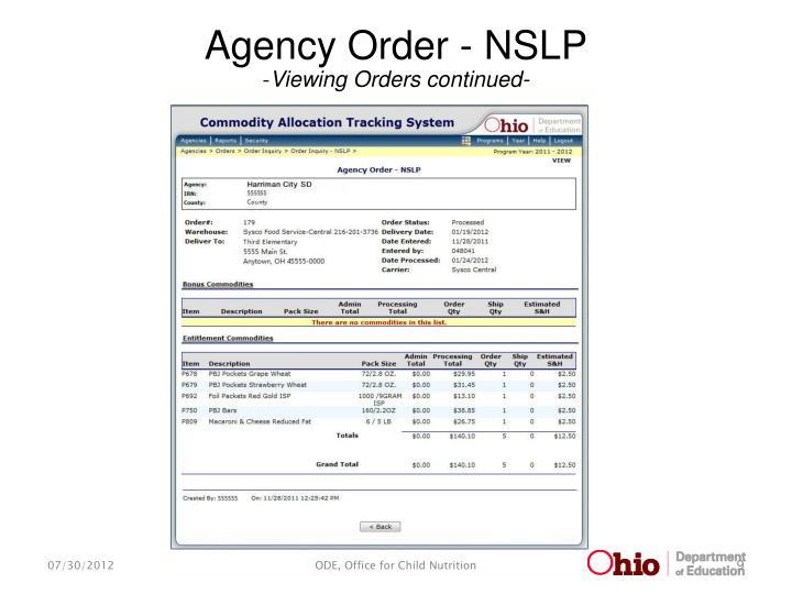 Agency Order - NSLP