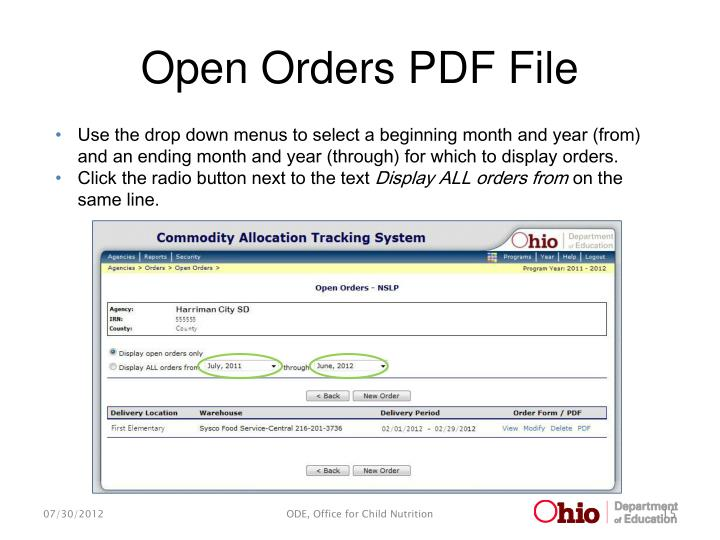 Open Orders PDF File