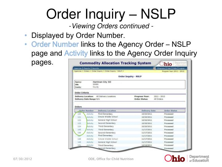 Order Inquiry – NSLP