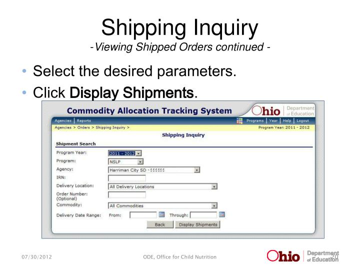 Shipping Inquiry