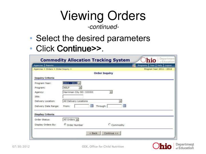 Viewing Orders