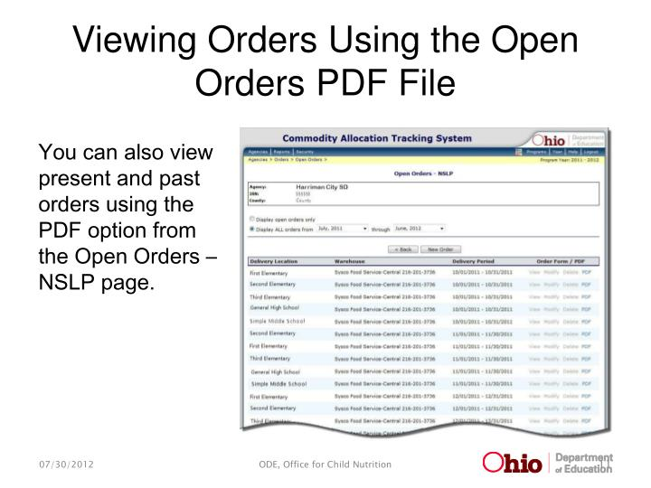 Viewing Orders Using the Open Orders PDF File