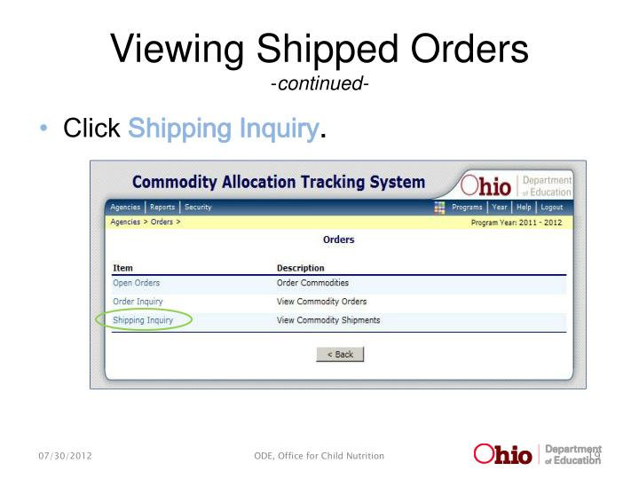 Viewing Shipped Orders