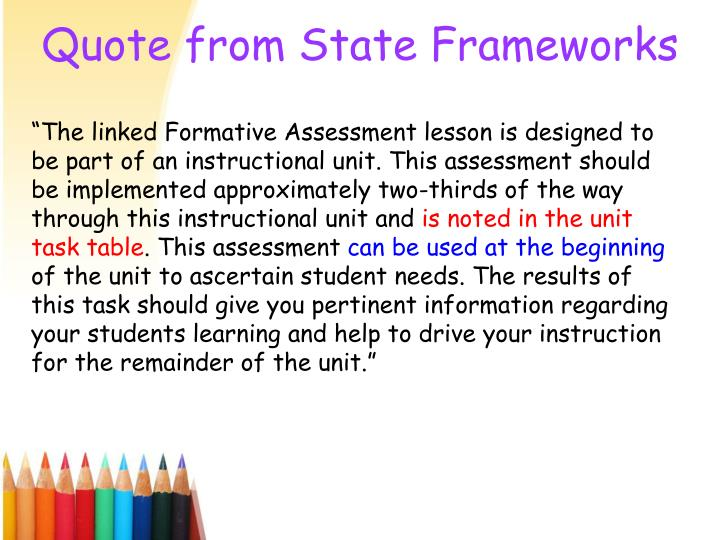 Quote from State Frameworks