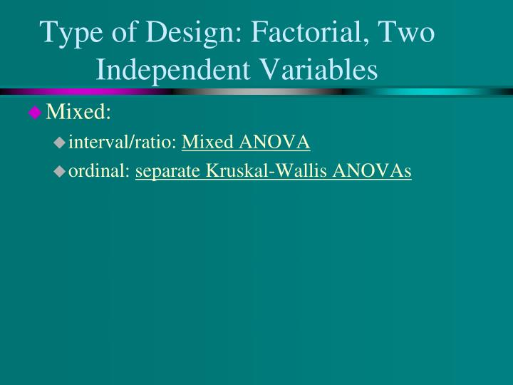 Type of Design: Factorial, Two Independent Variables