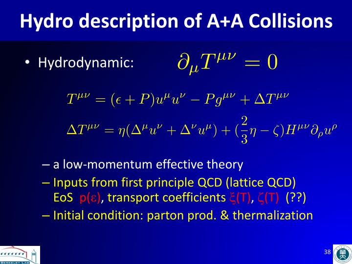 Hydro description of A+A Collisions