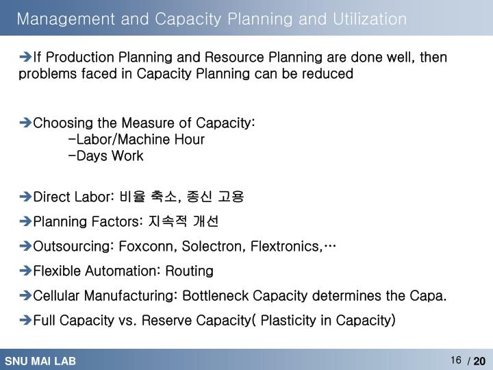 Management and Capacity Planning and Utilization