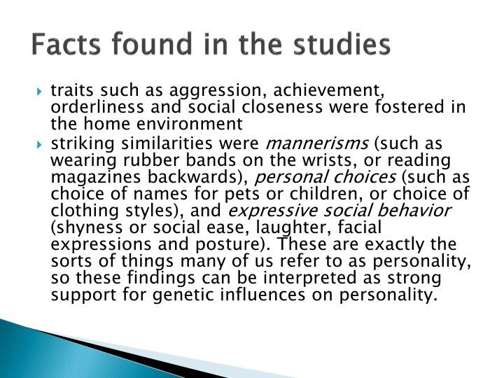 Facts found in the studies