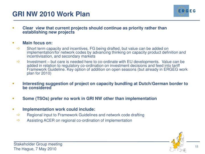 GRI NW 2010 Work Plan