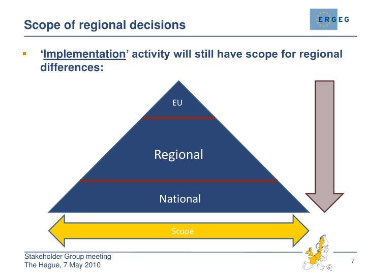 Scope of regional decisions