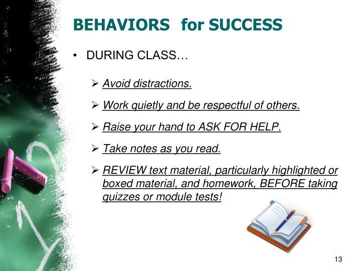 BEHAVIORS for SUCCESS