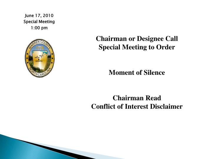 Chairman or Designee Call