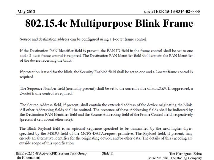 802.15.4e Multipurpose Blink Frame