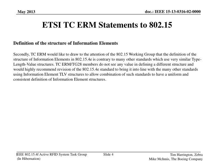 ETSI TC ERM Statements to 802.15