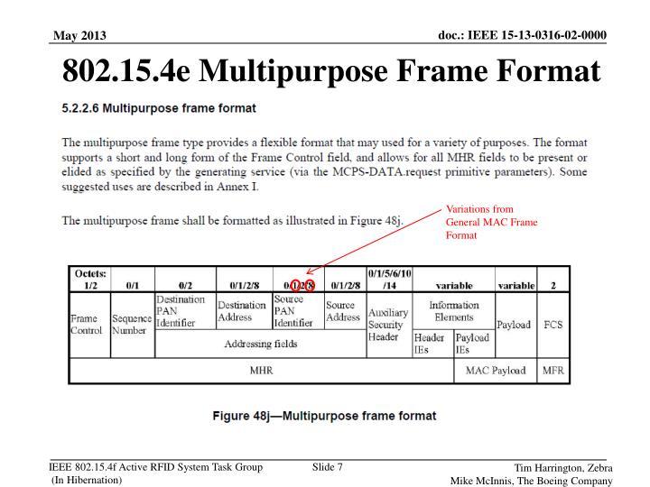 802.15.4e Multipurpose Frame Format