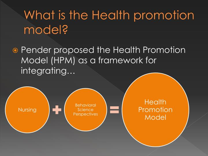 health promotion model essay Background: the health promotion model (hpm) indicates that each person is a multidimensional holistic individual who continually interacts with both interpersonal and physical environments and emphasizes the active participation of the individual in the achievement of an improved healthy state.