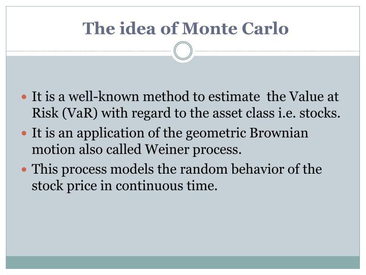 The idea of Monte Carlo
