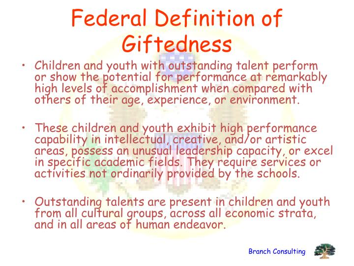 Federal Definition of Giftedness