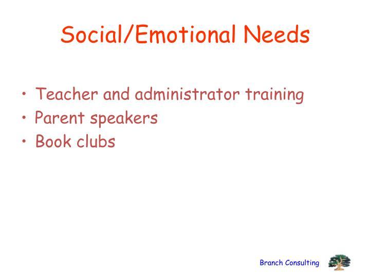 Social/Emotional Needs
