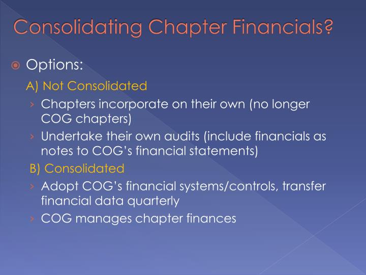 Consolidating Chapter Financials?