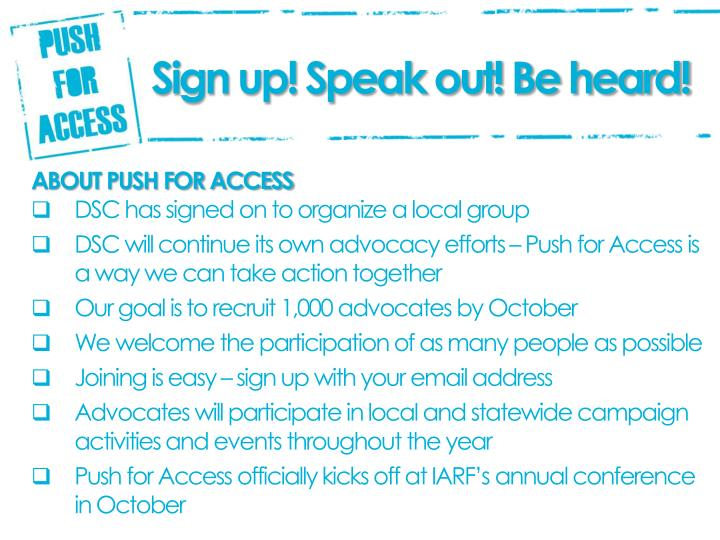 Sign up! Speak out! Be heard!
