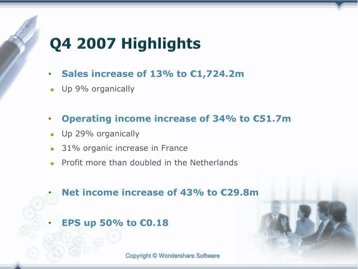 Q4 2007 highlights