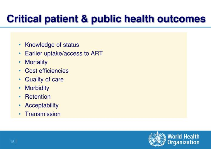 Critical patient & public health outcomes
