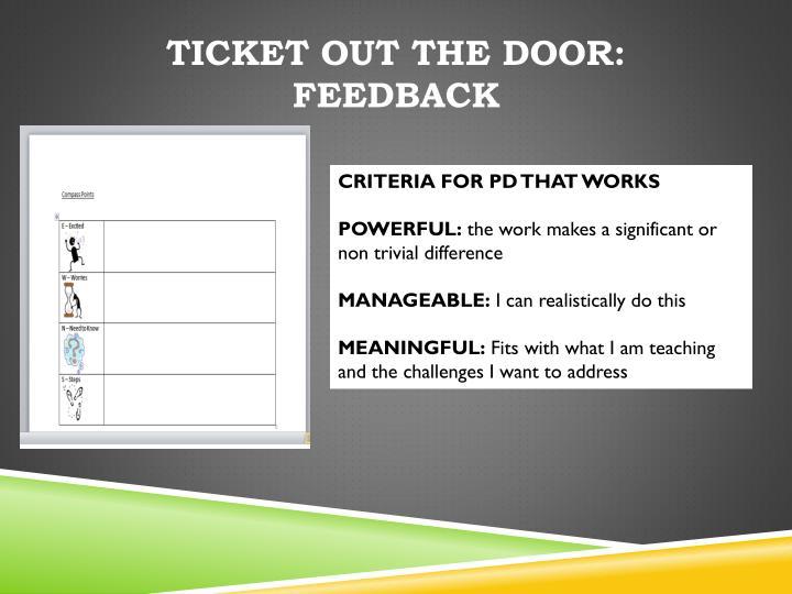Ticket Out the Door: Feedback