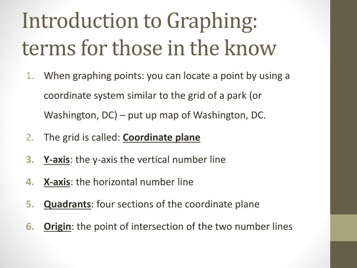 Introduction to graphing terms for those in the know